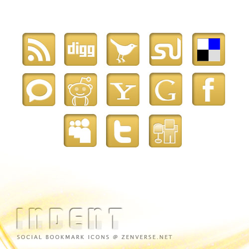 Indent Social Bookmark Icons by zenverse.net
