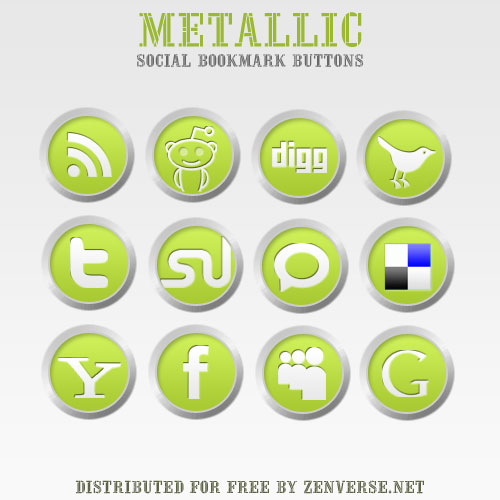 Metallic Social Bookmark Icons by zenverse.net