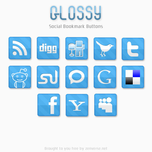 Glossy Social Bookmark Icons by zenverse.net