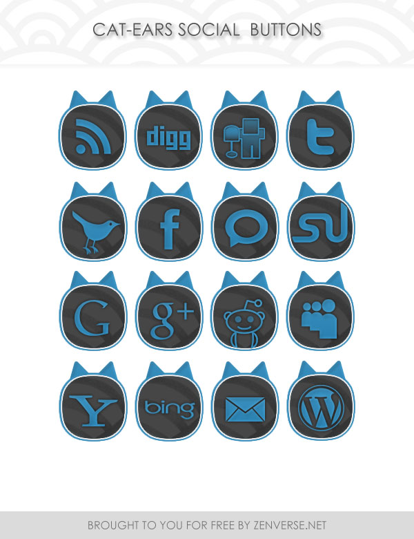 Cat-Ears Free Social Bookmark Icons by zenverse.net
